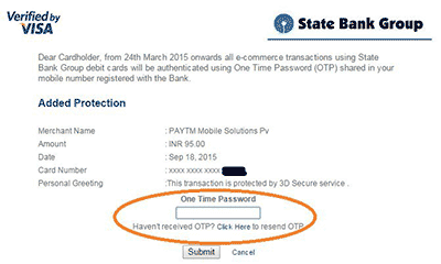 Sbi One Time Password